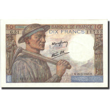 France, 10 Francs, 10 F 1941-1949 ''Mineur'', 1943, KM:99b, 1943-03-25