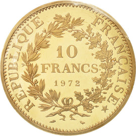 Coin, France, 10 Francs, 1972, MS(65-70), Gold, KM:P459, Gadoury:183.P2