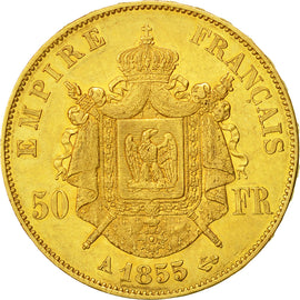 Coin, France, Napoleon III, 50 Francs, 1855, Paris, AU(50-53), Gold, KM 785.1
