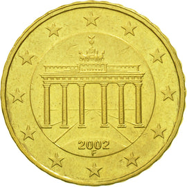 GERMANY - FEDERAL REPUBLIC, 10 Euro Cent, 2002, EF(40-45), Brass, KM:210
