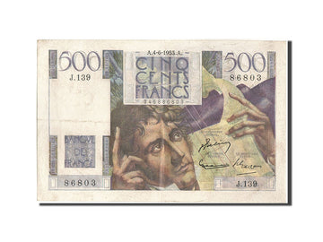 Banknote, France, 500 Francs, 500 F 1945-1953 ''Chateaubriand'', 1953