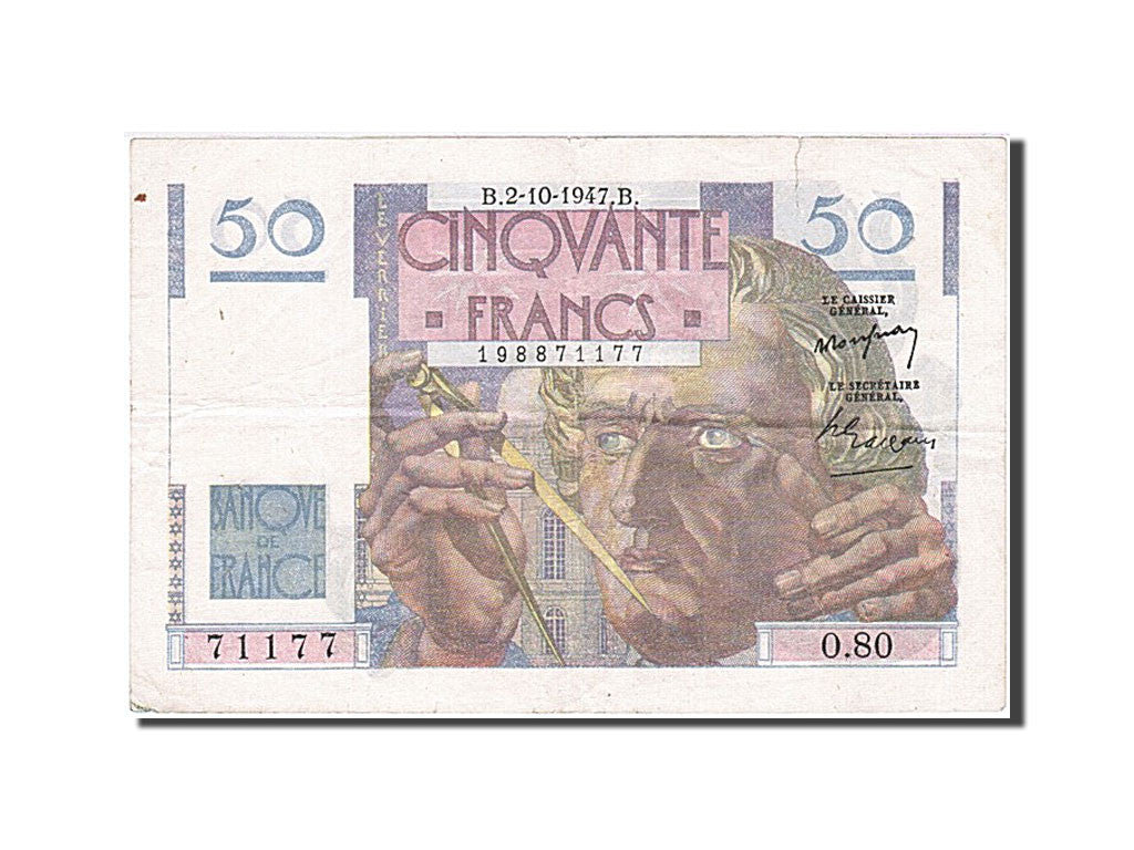 France, 50 Francs, 50 F 1946-1951 ''Le Verrier'', 1947, KM #127b, 1947-10-02,...