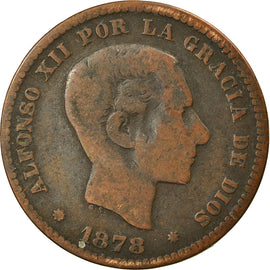 Coin, Spain, Alfonso XII, 5 Centimos, 1878, VF(20-25), Bronze, KM:674
