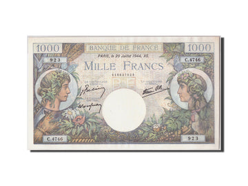 France, 1000 Francs Commerce et Industrie, KM:96c, Fay:39.12, 1944-07-20, UNC(63