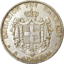 Coin, Greece, George I, 5 Drachmai, 1876, Paris, EF(40-45), Silver, KM:46