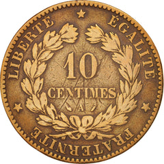 France, Cérès, 10 Centimes, 1888, Paris, F(12-15), Bronze, KM:815.1, Gadoury265a