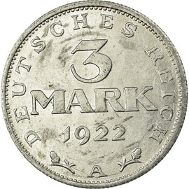 Coin, GERMANY, WEIMAR REPUBLIC, 3 Mark, 1922, Berlin, AU(50-53), Aluminum, KM:28