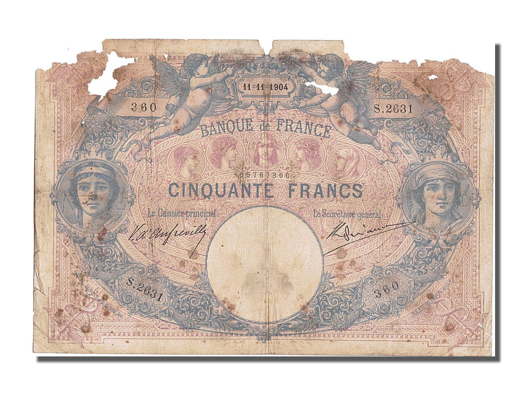 France, 50 Francs, 50 F 1889-1927 ''Bleu et Rose'', 1904, KM #64c, 1904-11-11,..