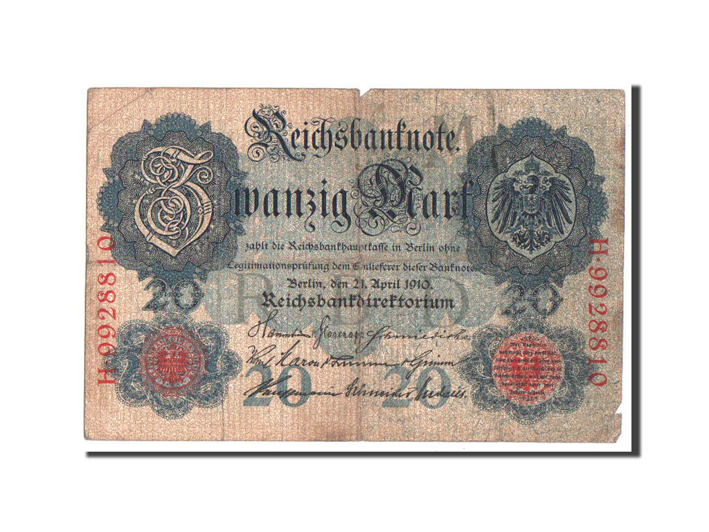 Germany, 20 Mark, 1910, KM #40b, VF(20-25), H9928810