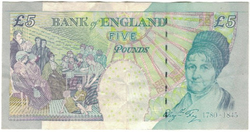 Banknote, Great Britain, 5 Pounds, KM:391d, VF(20-25)