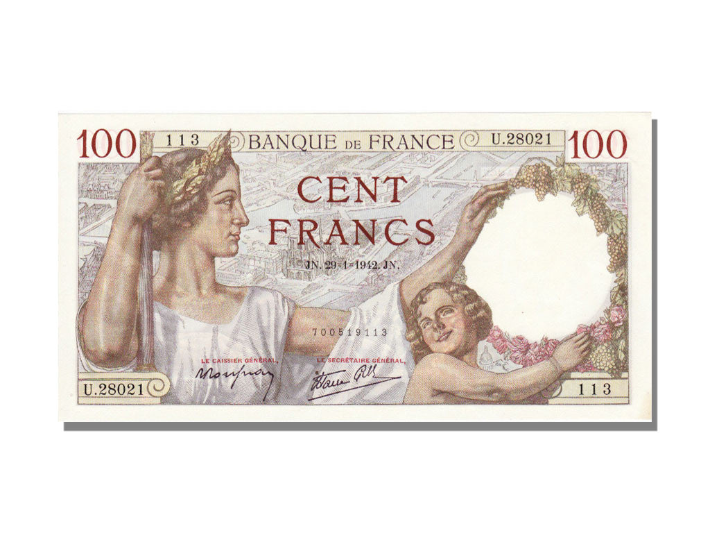 France, 100 Francs, 100 F 1939-1942 ''Sully'', 1942, KM #94, 1942-01-29,...