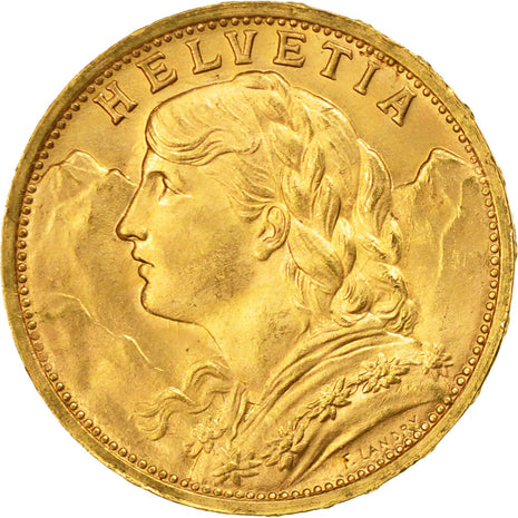 Coin, Switzerland, 20 Francs, 1930, Bern, MS(64), Gold, KM:35.1