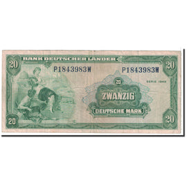 Banknote, GERMANY - FEDERAL REPUBLIC, 20 Deutsche Mark, 1949, 1949-08-22