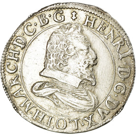 Coin, FRENCH STATES, LORRAINE, Henri II, Teston, 1615, Nancy, AU(50-53), Silver