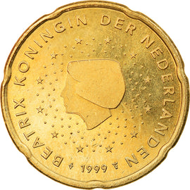 Netherlands, 20 Euro Cent, 1999, BE, MS(63), Brass, KM:New
