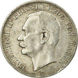 Coin, German States, BADEN, Friedrich II, 3 Mark,1910,Stuttgart,AU(50-53),KM 280