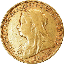 Coin, Great Britain, Victoria, Sovereign, 1896, AU(55-58), Gold, KM:785
