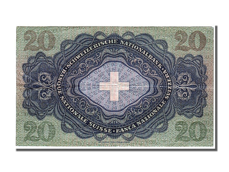 Switzerland, 20 Franken, 1950, KM #39r, 1950-03-09, AU(55-58), 26p