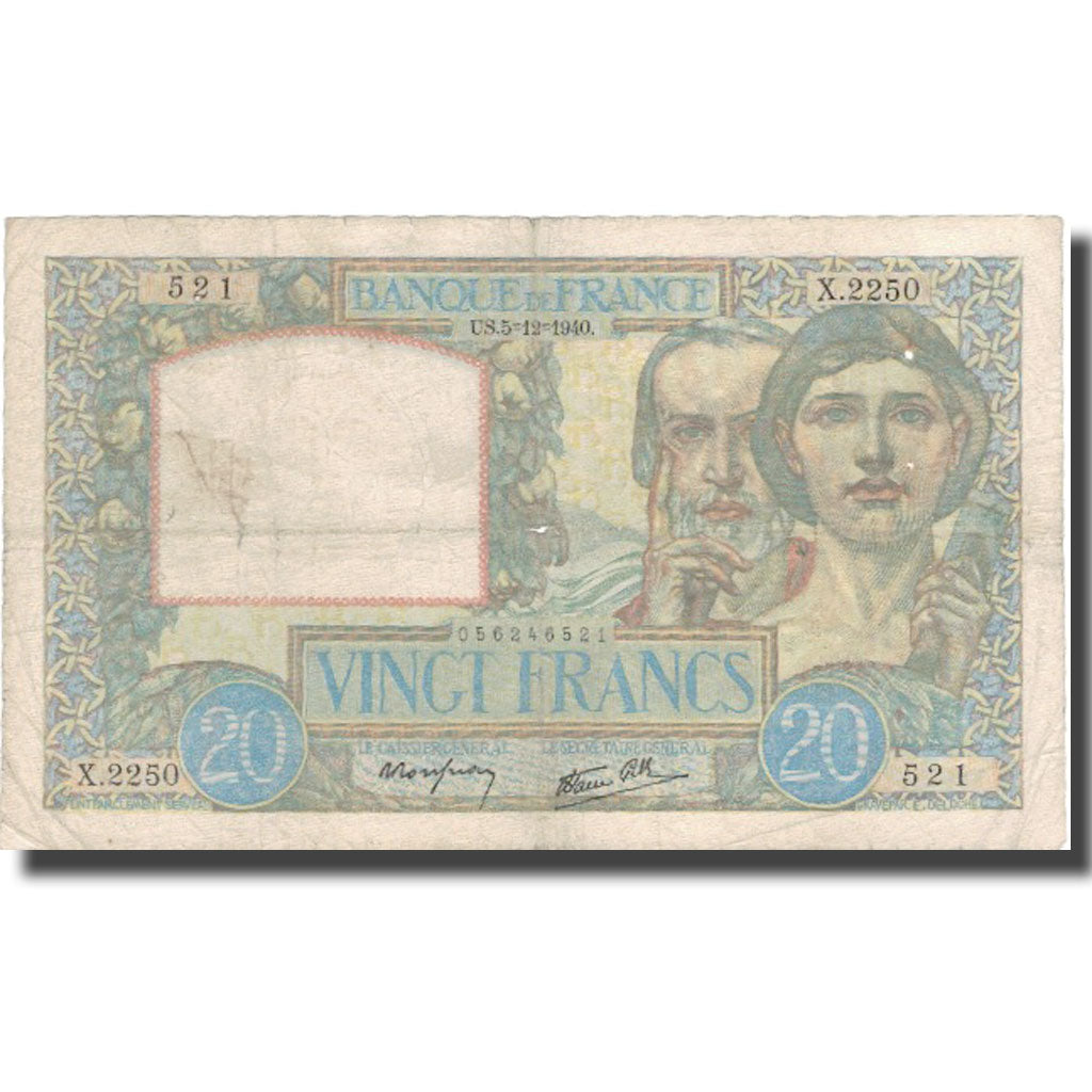 France, 20 Francs, 20 F 1939-1942 ''Science et Travail'', 1940, 1940-12-05