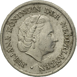 Coin, Netherlands, Juliana, 10 Cents, 1957, VF(30-35), Nickel, KM:182