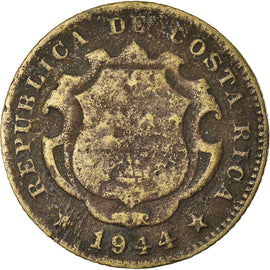 Coin, Costa Rica, 25 Centimos, 1944, San Jose, VF(20-25), Yellow Brass, KM:181