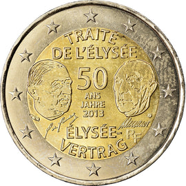 France, 2 Euro, Traité de l'Elysée, 2013, MS(63), Bi-Metallic, Gadoury:17