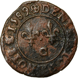 Coin, France, Henri III, Denier Tournois, Denier Tournois, 1589, Saint Lô