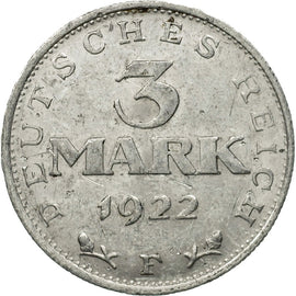 Coin, GERMANY, WEIMAR REPUBLIC, 3 Mark, 1922, Stuttgart, EF(40-45), Aluminum