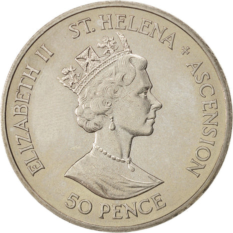 SAINT HELENA & ASCENSION, 50 Pence, 1986, KM #7, MS(63), Copper-Nickel, 38.5,...