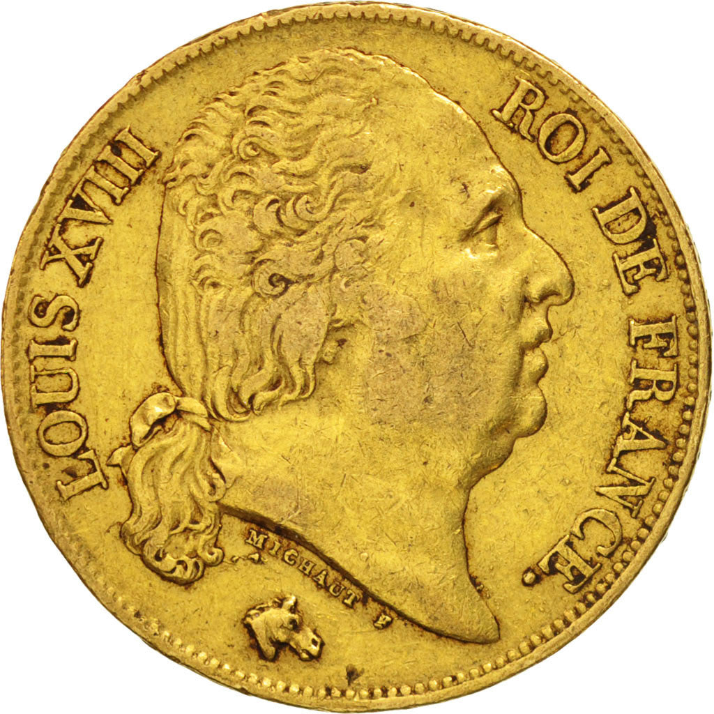 France, Louis XVIII, 20 Francs, 1819, Paris, EF(40-45), Gold, KM:712.1