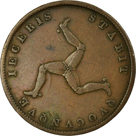 Coin, Isle of Man, 1/2 Penny, 1839, VF(30-35), Copper, KM:13