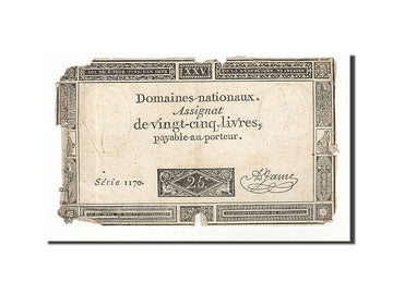 Banknote, France, 25 Livres, 1793, 1793-06-06, F(12-15), KM:A71, Lafaurie:168