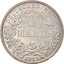 Coin, GERMANY - EMPIRE, Wilhelm II, Mark, 1915, Berlin, MS(63), Silver, KM:14