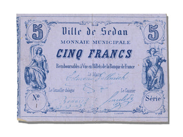FRANCE, Sedan ou La Tour A Glaire, 5 Francs, 1871, UNC(63), Jérémie #08.12.C