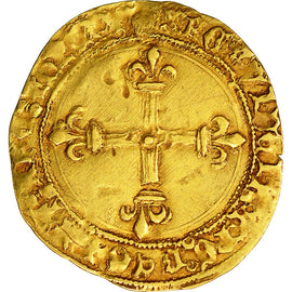 Coin, France, Charles VIII, Ecu d'or, Montpellier, 1st emission, VF(30-35),Dy575