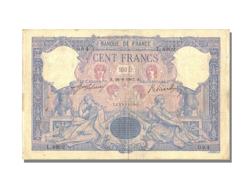 France, 100 Francs, 100 F 1888-1909 ''Bleu et Rose'', 1907, KM #65e,...