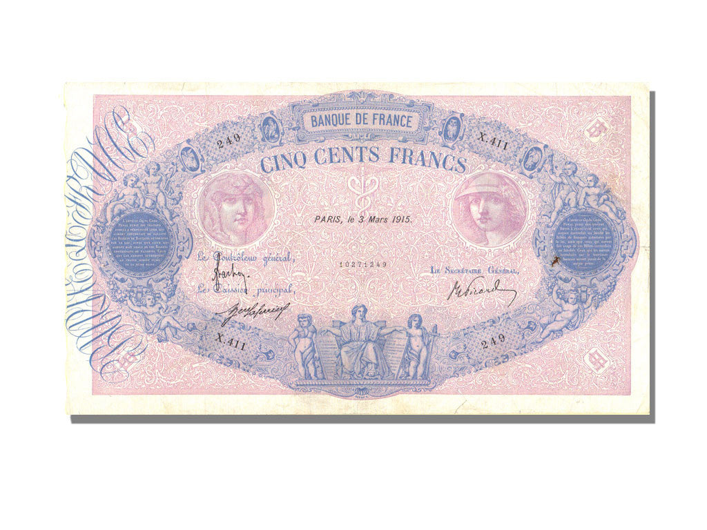 France, 500 Francs, 500 F 1888-1940 ''Bleu et Rose'', 1915, KM #66g,...