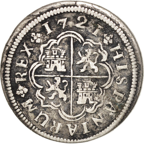 SPAIN, Real, 1721, Madrid, KM #298, EF(40-45), Silver, 2.63