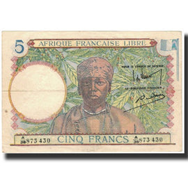 Banknote, French Equatorial Africa, 5 Francs, 1941, KM:6a, AU(55-58)