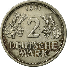 Coin, GERMANY - FEDERAL REPUBLIC, 2 Mark, 1951, Hambourg, EF(40-45)
