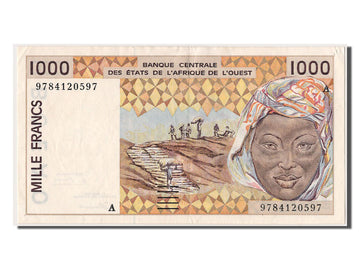 West African States, 1000 Francs, 1997, KM #111Ag, AU(55-58), A 9784120597