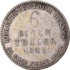 Coin, German States, HESSE-CASSEL, Wilhelm II and Friedrich Wilhelm, 1/6 Thaler