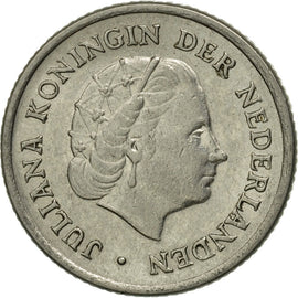 Coin, Netherlands, Juliana, 10 Cents, 1957, AU(55-58), Nickel, KM:182