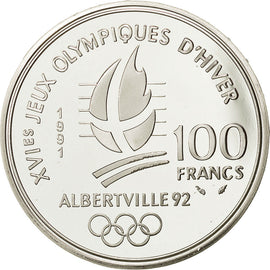 Coin, France, 100 Francs Olympics, 1991, MS(65-70), Silver, KM 993