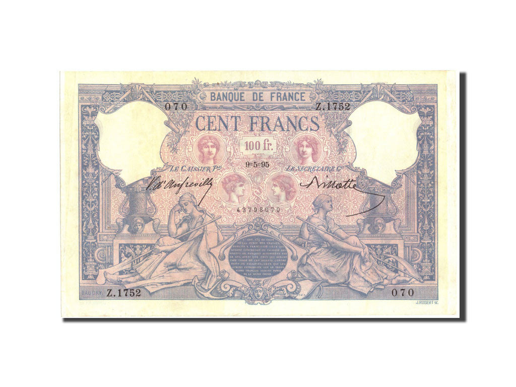 France, 100 Francs, 100 F 1888-1909 ''Bleu et Rose'', 1895, KM:65b, 1895-05-09
