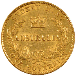 AUSTRALIA, Sovereign, 1866, Sydney, KM #4, AU(50-53), Gold, 8.00
