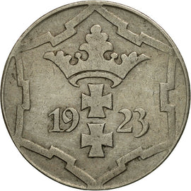 Coin, DANZIG, 10 Pfennig, 1923, AU(50-53), Copper-nickel, KM:143