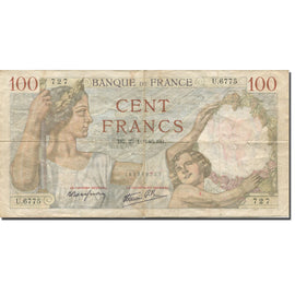 France, 100 Francs, Sully, 1940, 1940-01-25, Rare, VG(8-10), Fayette:26.21