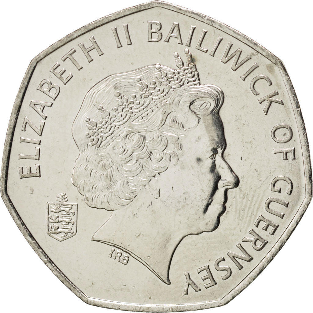 GUERNSEY, 50 Pence, 2008, British Royal Mint, KM #156, MS(63), Copper-Nickel,...