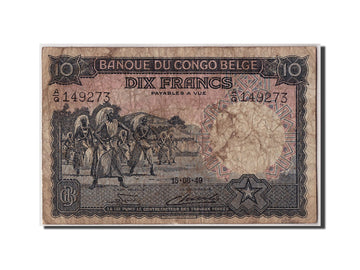 Banknote, Belgian Congo, 10 Francs, 1949, 1949-08-15, F(12-15)